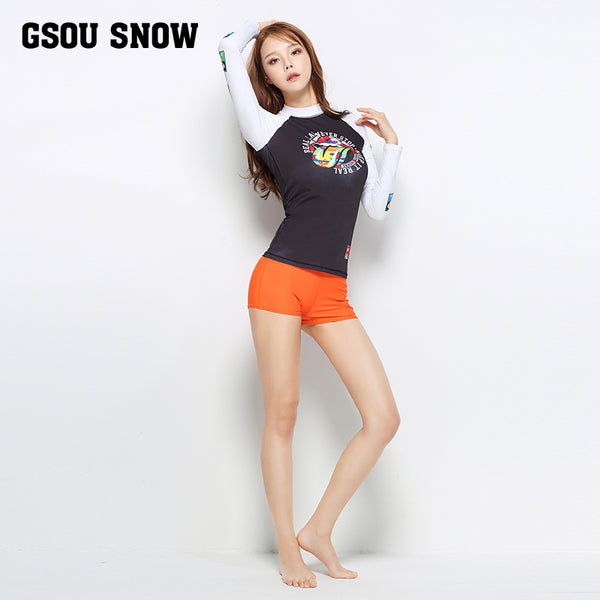 Gsou Snow Black Long Sleeve Shorts Women's Swimsuit Wetsuit Suit Front
