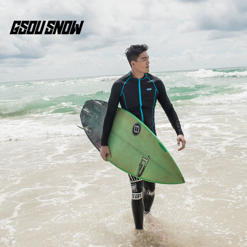 Gsou Snow Black Long Sleeve Swimsuit Surf Wetsuit Suit For Men Front