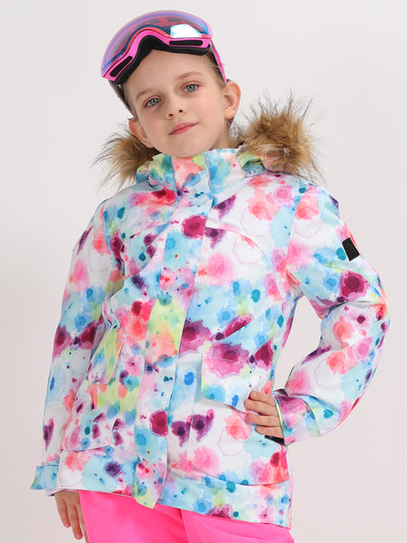Colorful Camouflage Vibrant Lines Kids Winter Snowboard Jacket