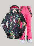 Gsou Snow Women's Ski Snowboard Jackets & Pink Pants Sets