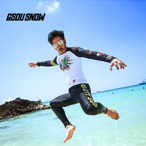 Gsou Snow New Men's Black Quick-drying swimsuit wetsuit - trousers