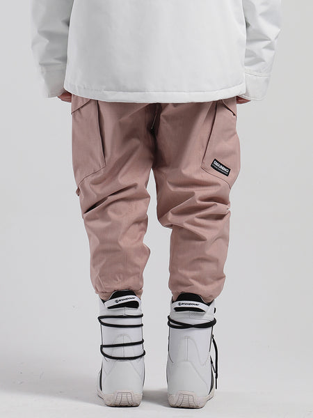 SMN unisex pink Waterproof, warm, loose, thin, breathable and wear-resistant hip-hop double-board snowboard pants