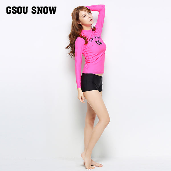 Gsou Snow New Women's Pink Long Sleeve Shorts Swimsuit Wetsuit Suit