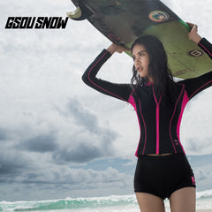 Gsou Snow Black Long Sleeve Shorts Women's Swimsuit Surf Wetsuit Suit Front