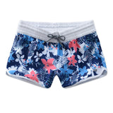 Gsou Snow New Women's Blue Print Casual Quick-Drying Beach Shorts