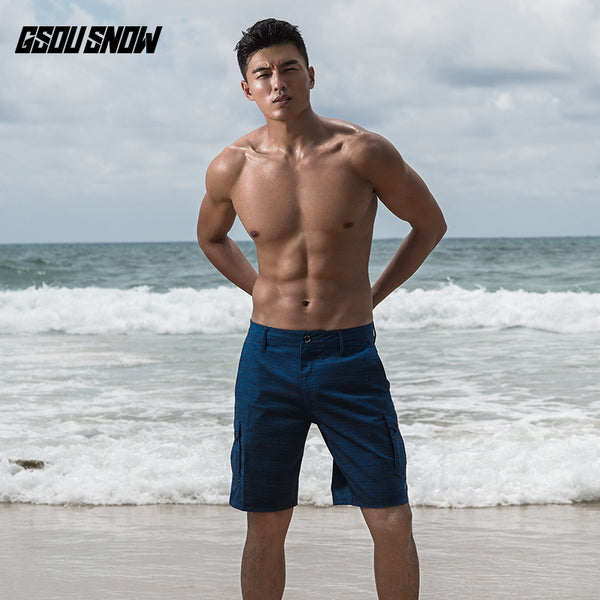 Gsou Snow Casual Quick Dry Blue Beach Shorts For Men Swim Surf Snorkel