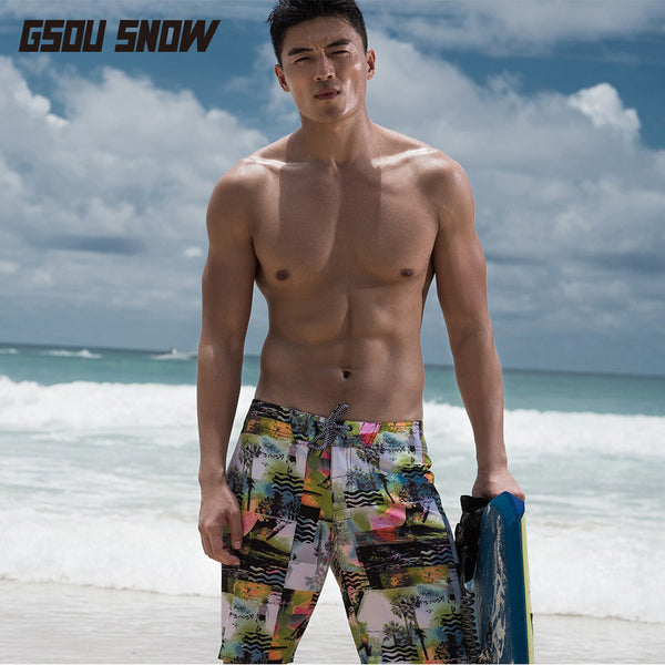 Gsou Snow Casual Printed Swim Trunks Beach Shorts For Men Quick-Drying
