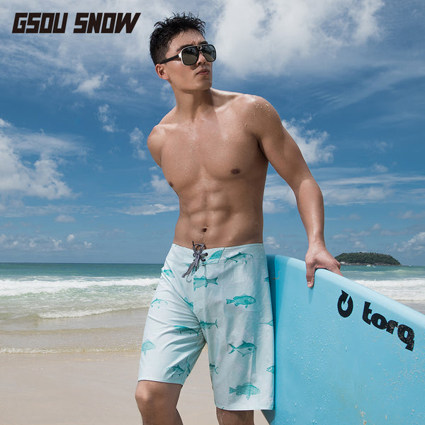 Gsou Snow Casual Blue Printed Beach Shorts For Men's Quick-Drying Front