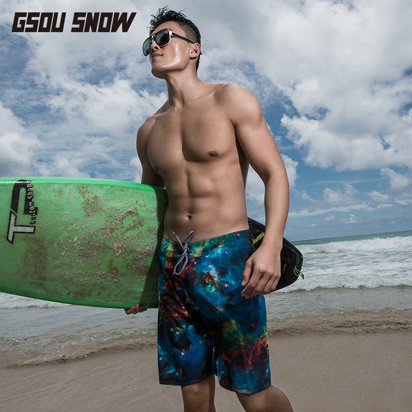Gsou Snow Men Casual Blue Printed Beach Shorts Surf Swim Snorkel Front