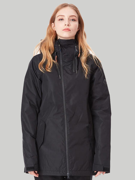 Womens Black Ski Jacket 10K Windproof and Waterproof Snowboard Jacket