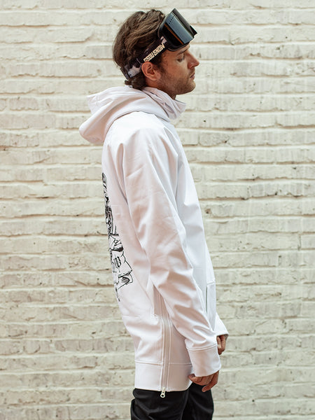 Gsou Snow Unisex White Pullover Snowboard Hoodie