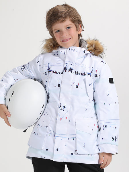 Gsou Snow Kids White Ski Snowboard Jacket