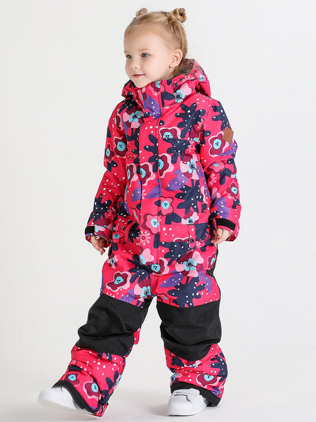 20K Windproof Waterproof Flower Kids Snowboard One Piece Suit