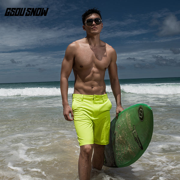 Gsou Snow Casual Yellow Swim Trunks Beach Shorts For Men Quick-Dry Front