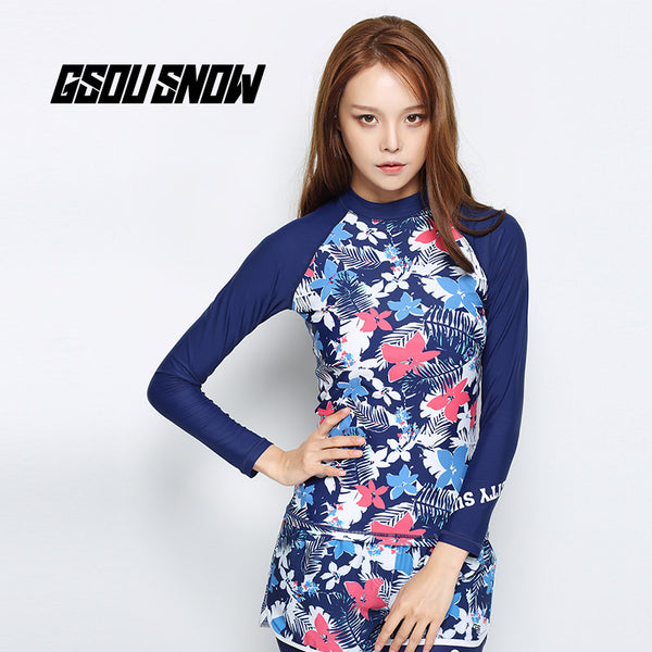 Gsou Snow Blue Print Women Long Sleeve Shorts Swimsuit Wetsuit Suit Front