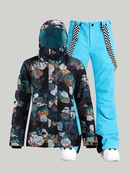 SMN New style snow suit women's windproof and waterproof quilted thickened warm ski pants suit