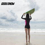Gsou Snow Black Long Sleeve Shorts Women's Swimsuit Surf Wetsuit Suit Behind