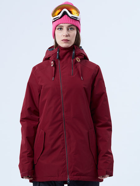 Gsou Snow Thermal Warm High Waterproof Windproof Wine Red Ski/Snowboard Jackets