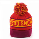 Gsou Snow new purple children's striped knitted beanie hat warm sleeve winter hat