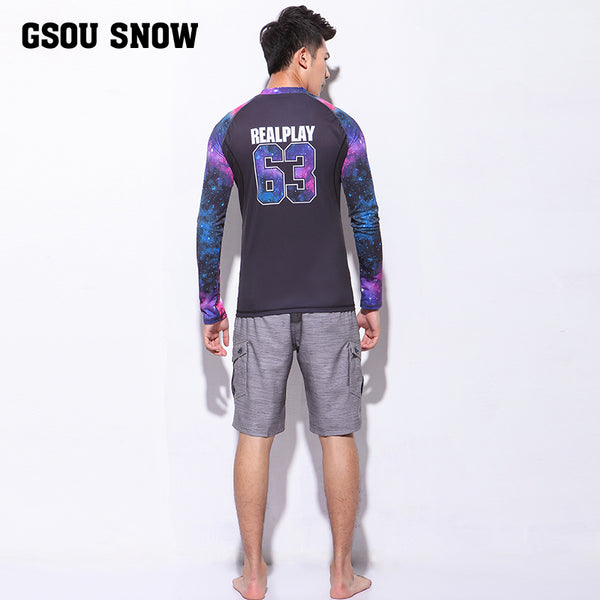 Gsou Snow Long Sleeve Shorts Men's Quick-Drying Swimsuit Surf Wetsuit Suit Behind