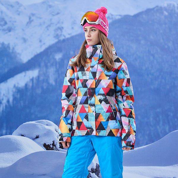 Gsou Snow Brand Womens Colorful Ski Jacket Waterproof Snowboard Jacket Model Slid