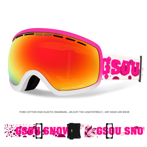 Gsou Snow Ski Goggles For Snowboard Snowmobile Skate Motorcycle Riding - For Women Youth Girl - Anti Fog UV Protection