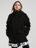 Womens Black Winter Snowboard Jacket 15K Windproof and Waterproof,100% Polyester,Outdoor clothing,YKK® Zippe
