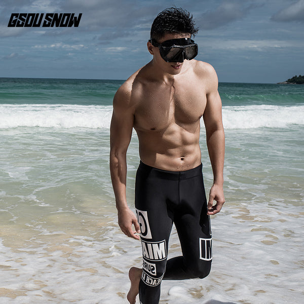 Gsou Snow Men's Slim Black Quick-drying Swimsuit Wetsuits - Trousers