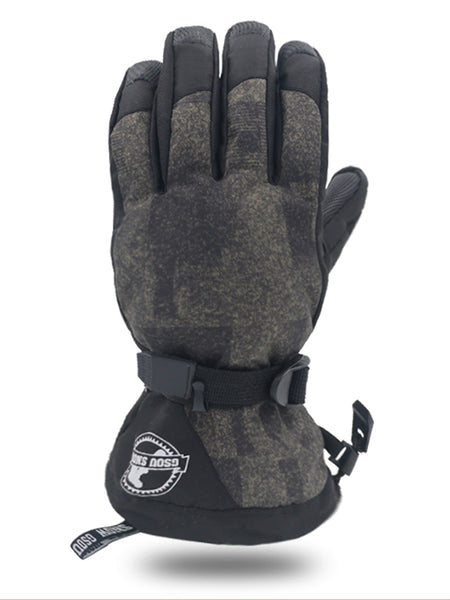 Gsou Snow Men's Winter Warm Gloves Outdoor Non-slip Waterproof Touch Screen Ski Gloves Motorcycle Riding Windproof