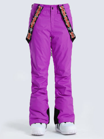 Gsou Snow Purple Thermal Warm High Waterproof Windproof Women's Snowboard/Snow Pants