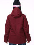 Womens Red wine Ski Jacket 10K Windproof and Waterproof Snowboard Jacket,Machine washable