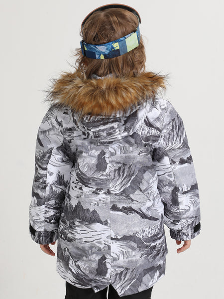 Landscape Painting Winter Kids Colorful Snowboard Jacket