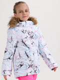 5K Windproof & WaterproofKids Colorful Vibrant Lines Kids Winter Snowboard Jacket