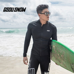 Gsou Snow Men's Black Long Sleeve Zipper Surf Swimsuit Wetsuit Suit front