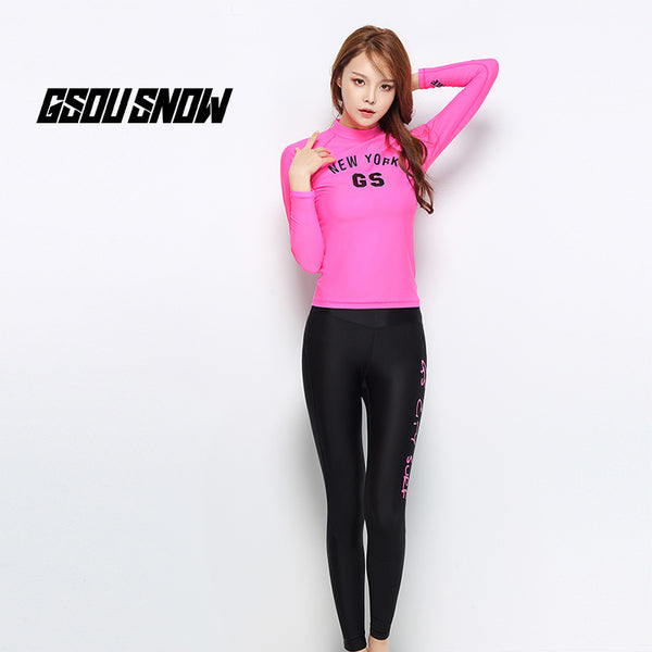 Gsou Snow Women's Long Sleeve Pink Swimsuit Wetsuits Suit Surf Snorkel Front