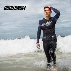 Gsou Snow Men's Black Long Sleeve Speed Swimsuit Wetsuit Surf Suit