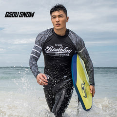Gsou Snow New Men's Black Long Sleeve Split Swimsuit Wetsuit Surf Set front