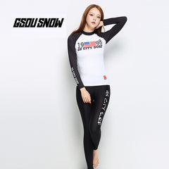 Gsou Snow White Long Sleeve Split Swimsuit Wetsuit Set for Women  front