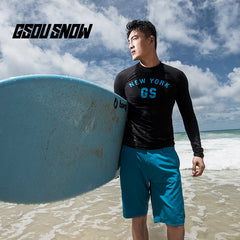 Gsou Snow New Men's Long Sleeve Shorts Black Swimsuit Wetsuit Suit front