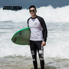 Gsou Snow New White Men Long Sleeve Surf Swimsuit Wetsuit Suit