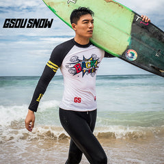 Gsou Snow long-sleeved men's white quick-drying swimsuit wetsuit suit. Suitable for surfing, snorkeling, swimming, various water sports.