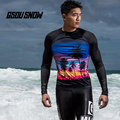 Gsou Snow New Long Sleeved Black Split Swimsuit Diving Suit for Men front