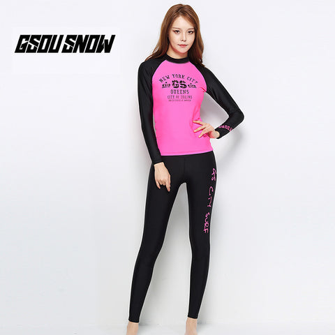 Gsou Snow Women's Pink Long-Sleeved Suit Split Swimsuit Wetsuit front