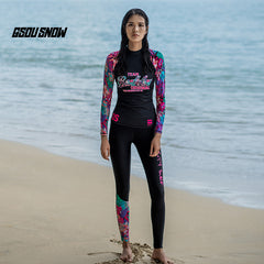GsouSnow Colorful pattern wetsuits for women Swim Surfing Scuba Diving Snorkeling Suits