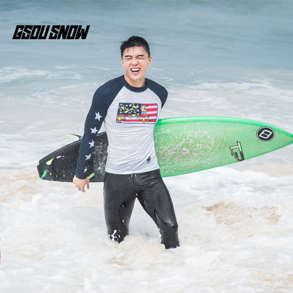 Gsou Snow Men's Long Sleeve Quick-drying Swimsuit Wetsuit Surf Suit front