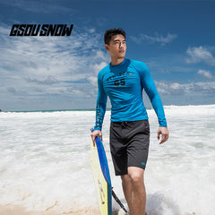 Gsou Snow Sky Blue Men Long Sleeve Shorts Surf Swimsuit Wetsuit Suit front