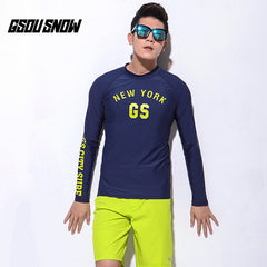 Gsou Snow Dark Blue Men's Long Sleeve Shorts Swimsuit Wetsuit Suit front