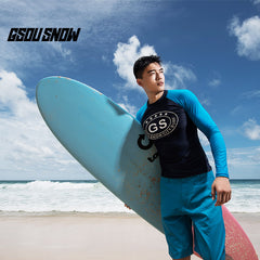 Gsou Snow Dark Blue Men Long Sleeve Shorts Surf Swimsuit Wetsuit Set front