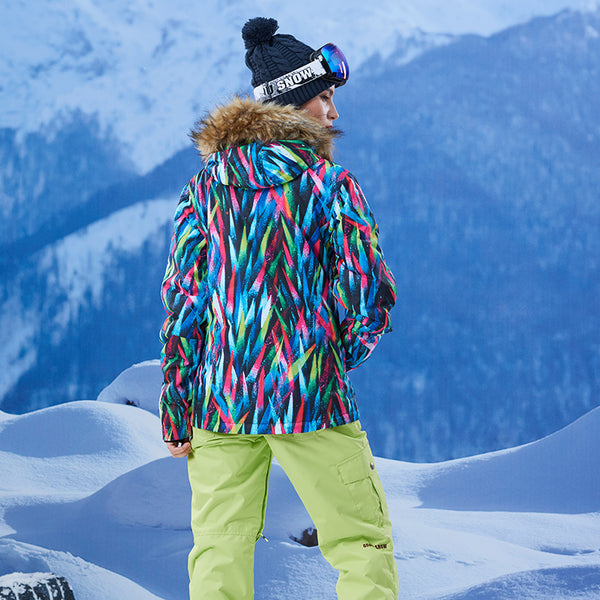 Gsou Snow Brand Women Fur Hooded Snowboard Jacket Skiing Jacket Model Back