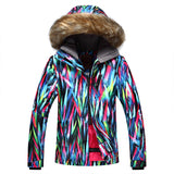 Gsou Snow Brand Women Fur Hooded Snowboard Jacket Skiing Jacket Front